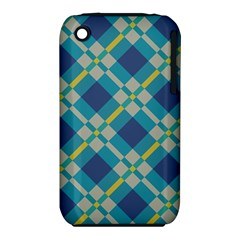 Squares and stripes pattern Apple iPhone 3G/3GS Hardshell Case (PC+Silicone)