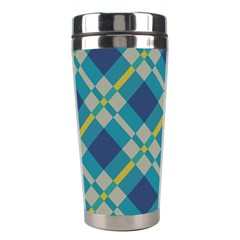 Squares And Stripes Pattern Stainless Steel Travel Tumbler