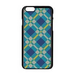 Squares And Stripes Pattern Apple Iphone 6 Black Enamel Case