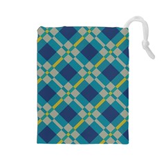 Squares and stripes pattern Drawstring Pouch
