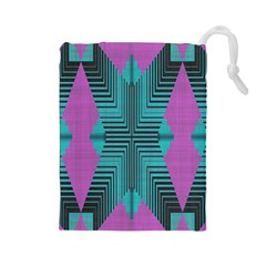 Tribal Purple Rhombus Drawstring Pouch