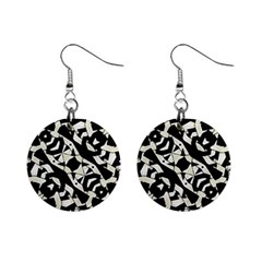 Black And White Print Mini Button Earrings