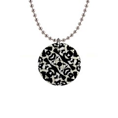 Black And White Print Button Necklace