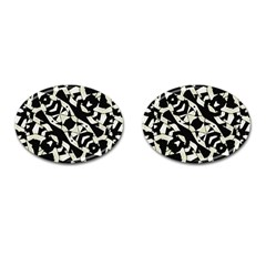 Black And White Print Cufflinks (oval)
