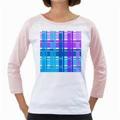 Blue & Purple Gingham Plaid Women s Long Cap Sleeve T-Shirt (White)