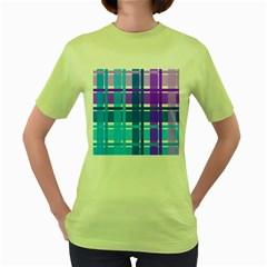 Blue & Purple Gingham Plaid Women s T Shirt (green)