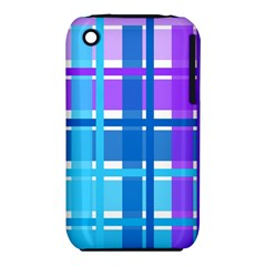 Blue & Purple Gingham Plaid Apple Iphone 3g/3gs Hardshell Case (pc+silicone)