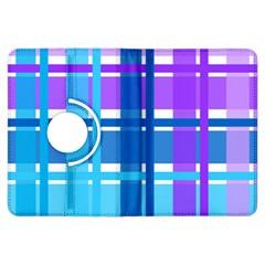 Blue & Purple Gingham Plaid Kindle Fire HDX Flip 360 Case
