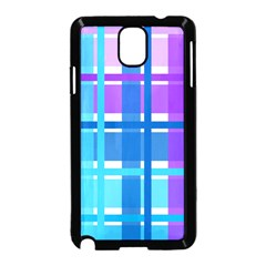 Blue & Purple Gingham Plaid Samsung Galaxy Note 3 Neo Hardshell Case (black)
