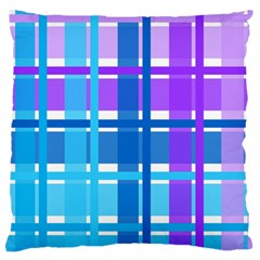 Blue & Purple Gingham Plaid Standard Flano Cushion Case (Two Sides)