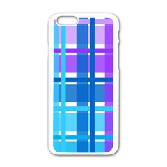 Blue & Purple Gingham Plaid Apple iPhone 6 White Enamel Case