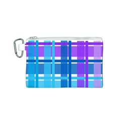 Blue & Purple Gingham Plaid Canvas Cosmetic Bag (Small)