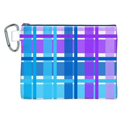 Blue & Purple Gingham Plaid Canvas Cosmetic Bag (XXL)