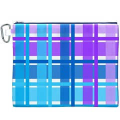 Blue & Purple Gingham Plaid Canvas Cosmetic Bag (XXXL)