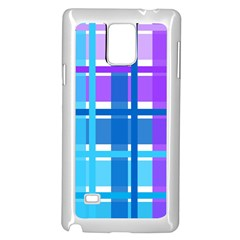 Blue & Purple Gingham Plaid Samsung Galaxy Note 4 Case (White)