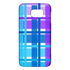 Blue & Purple Gingham Plaid Samsung Galaxy S6 Hardshell Case