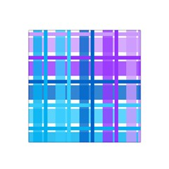 Blue & Purple Gingham Plaid Satin Bandana Scarf