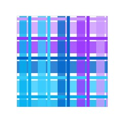 Blue & Purple Gingham Plaid Small Satin Scarf (square)