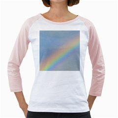 Rainbow Women s Long Cap Sleeve T-Shirt (White)
