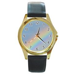 Rainbow Round Leather Watch (gold Rim)