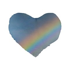 Rainbow Standard 16  Premium Flano Heart Shape Cushion