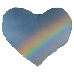 Rainbow Large 19  Premium Flano Heart Shape Cushion