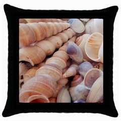Sea Shells Black Throw Pillow Case