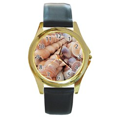 Sea Shells Round Leather Watch (Gold Rim)