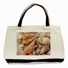 Sea Shells Twin Sided Black Tote Bag