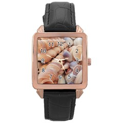 Sea Shells Rose Gold Leather Watch
