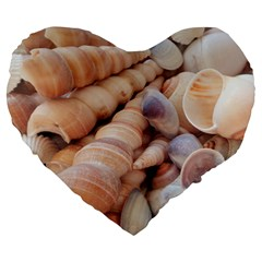 Sea Shells Large 19  Premium Flano Heart Shape Cushion