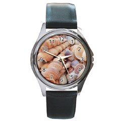 Sea Shells Round Leather Watch (Silver Rim)