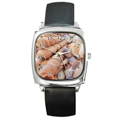 Sea Shells Square Leather Watch