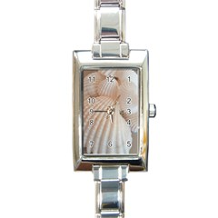 Sunny White Seashells Rectangular Italian Charm Watch