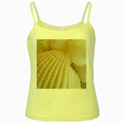 Sunny White Seashells Yellow Spaghetti Tank
