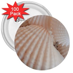 Sunny White Seashells 3  Button (100 Pack)