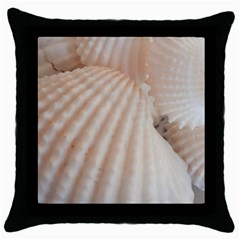 Sunny White Seashells Black Throw Pillow Case
