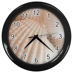 Sunny White Seashells Wall Clock (Black)