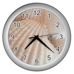 Sunny White Seashells Wall Clock (Silver)