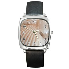 Sunny White Seashells Square Leather Watch