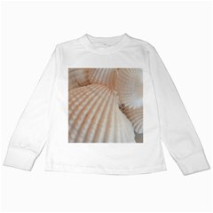 Sunny White Seashells Kids Long Sleeve T Shirt