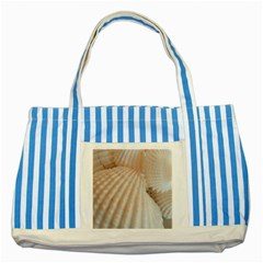Sunny White Seashells Blue Striped Tote Bag