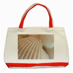 Sunny White Seashells Classic Tote Bag (Red)