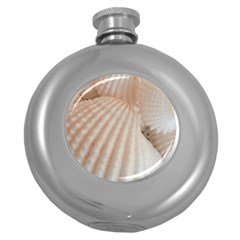 Sunny White Seashells Hip Flask (Round)
