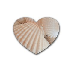 Sunny White Seashells Drink Coasters (Heart)