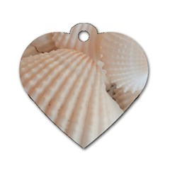 Sunny White Seashells Dog Tag Heart (Two Sided)