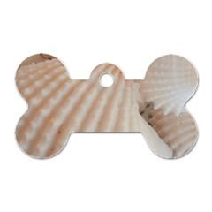Sunny White Seashells Dog Tag Bone (One Sided)