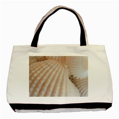 Sunny White Seashells Twin-sided Black Tote Bag
