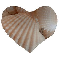 Sunny White Seashells Large 19  Premium Heart Shape Cushion
