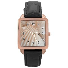 Sunny White Seashells Rose Gold Leather Watch